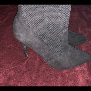All black Pointed toe Sock Booties